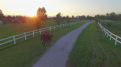 AERIAL: Young girl riding horse along the fields in suburb small town at sunset Stock Footage