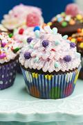 An assortment of ornately decorated cupcakes for a party Stock Photos