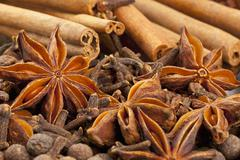Winter spices (cloves, allspice, star anise, cinnamon) Stock Photos
