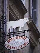 A butcher's sign in France Stock Photos