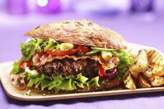 A bacon hamburger with chips Stock Photos