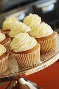 Buttercream cupcakes on a cake stand Stock Photos
