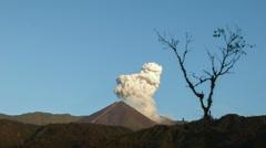 Reventador Volcano erupting at dawn, September 2016. Stock Footage