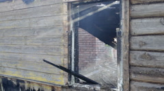 Farmhouse after a fire Stock Footage