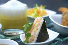 A sushi triangle with salmon Stock Photos