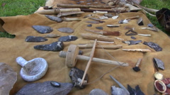 Flint and wooden tools and weapons Stock Footage