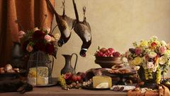 Rustic Still Life with Pheasant, Rabbit, Cheese, Fruit and Flowers Stock Photos