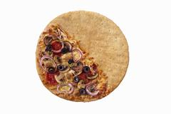 Pizza with Toppings Only on Half the Crust; The Other Half Plain Stock Photos
