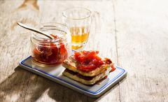 Halloumi with quince jelly Stock Photos
