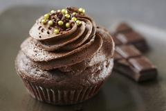 A Single Chocolate Cupcake with Chocolate Frosting and White Sprinkles Stock Photos