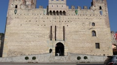 Marostica lower castle (Castello Inferiore)  [tilt up] Stock Footage