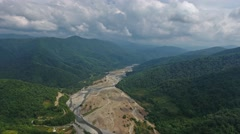 Aerial view on River valley in Caucasian mountains Stock Footage