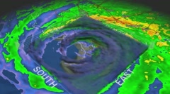 Hurricane Katrina Eye 3D Radar Stock Footage