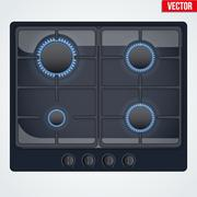 Surface of gas stove with flame Stock Illustration