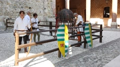 Medieval archery inside Marostica lower castle (Castello Inferiore) Stock Footage