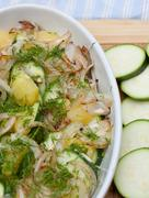 Summer Zucchini and Onion Tian in a Casserole Dish Stock Photos