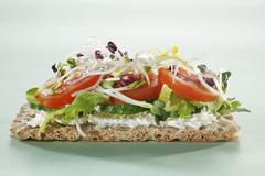 A crispbread with cucumbers, tomatoes and sprouts Stock Photos