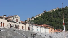 Fortification walls of the Marostica upper castle from Piazza degli Scacchi Stock Footage