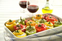 Stuffed peppers with cheese Stock Photos