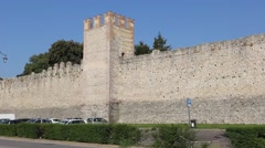 Panning of Marostica fortification wall of castle called Castello Inferiore Stock Footage