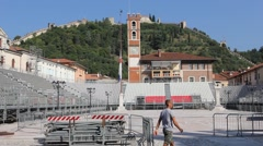 Grandstands on Marostica chess square (Piazza degli Scacchi) Stock Footage