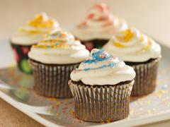 Chocolate Cupcakes with Vanilla Frosting and Colored Sugar Crystals; On a Stock Photos