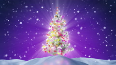 Decorated christmas tree at night loopable 4k (4096x2304) Stock Footage