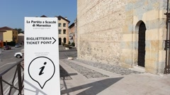 Ticket point signboard in front of Marostica castle for medieval chess game Stock Footage