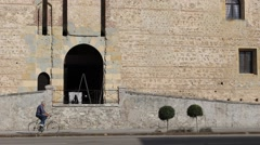 Entrance arch and top of Marostica lower castle's (Castello Inferiore) Stock Footage