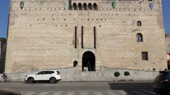 Frontal view of Marostica lower castle facade (Castello Inferiore) [tilt up] Stock Footage