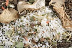 Vialone Nano risotto rice, dried porcini mushrooms, carrots, leek, celery, Stock Photos