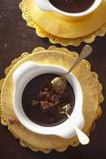 Dark chocolate mousse with chocolate curls Stock Photos