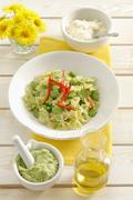 Farfalle with bean paste Stock Photos