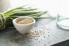 A Bowl of Sesame Seeds with Some Spilled; Green Onions in Background Stock Photos