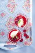 Raspberry jelly with vanilla ice cream Stock Photos