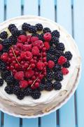 Berry pavlova (view from above) Stock Photos