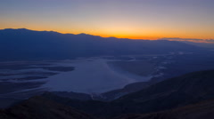 Time Lapse of Sunset Afterglow over Badwater in Death Valley Stock Footage