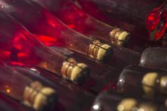 Champagne fermenting in bottles according to the champenoise method Stock Photos