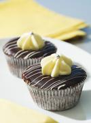 Cupcakes with dark chocolate coating and white chocolate topping Stock Photos
