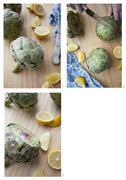 Trimming an artichoke Stock Photos