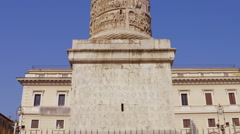 Column of Marcus Aurelius at Square Piazza Colonna in Rome, Italy Stock Footage