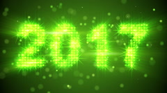 New year 2017 greeting glowing green particles loop Stock Footage