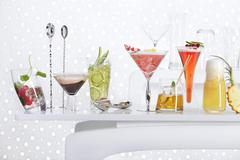 Lots of different cocktails on a bar table Stock Photos