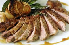 Angus beef steak cut into slices (close-up) Stock Photos