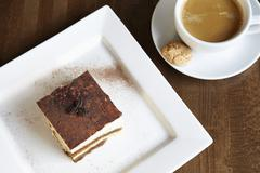 Tiramisu with coffee and amaretti Stock Photos