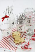 A craft idea for a contemporary Advent wreath: screen-printed fabric labels for Stock Photos