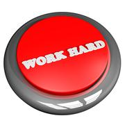 Work hard button isolated over white Stock Illustration