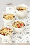 Vegetable bake with courgette, aubergines, tomatoes and Roquefort Stock Photos