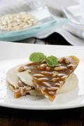 Nougat with vanilla sauce Stock Photos