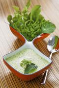 Herb soup with nettles, watercress, chervil, sorrel and chickweed Stock Photos